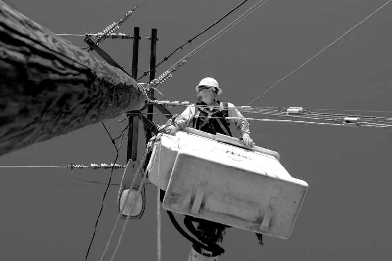 Pacific Power lineman work in Wyoming on utility poles and at home keeping electricity on for all of us.