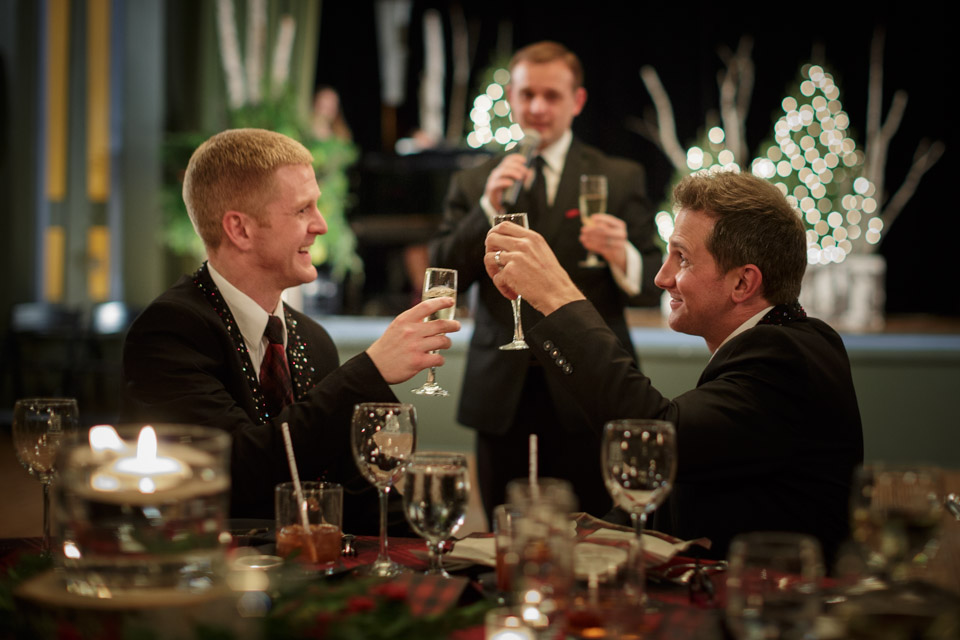 Best man toasts gay couple at their wedding in Chicago suburbs