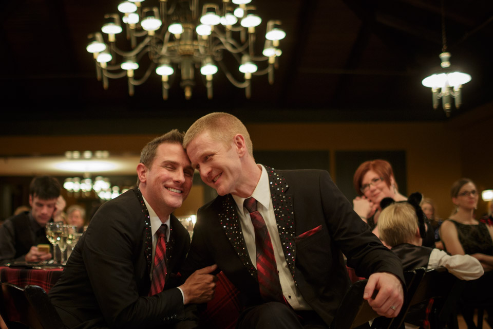 Chicago suburbs Gay Wedding Photographer captures grooms during the reception