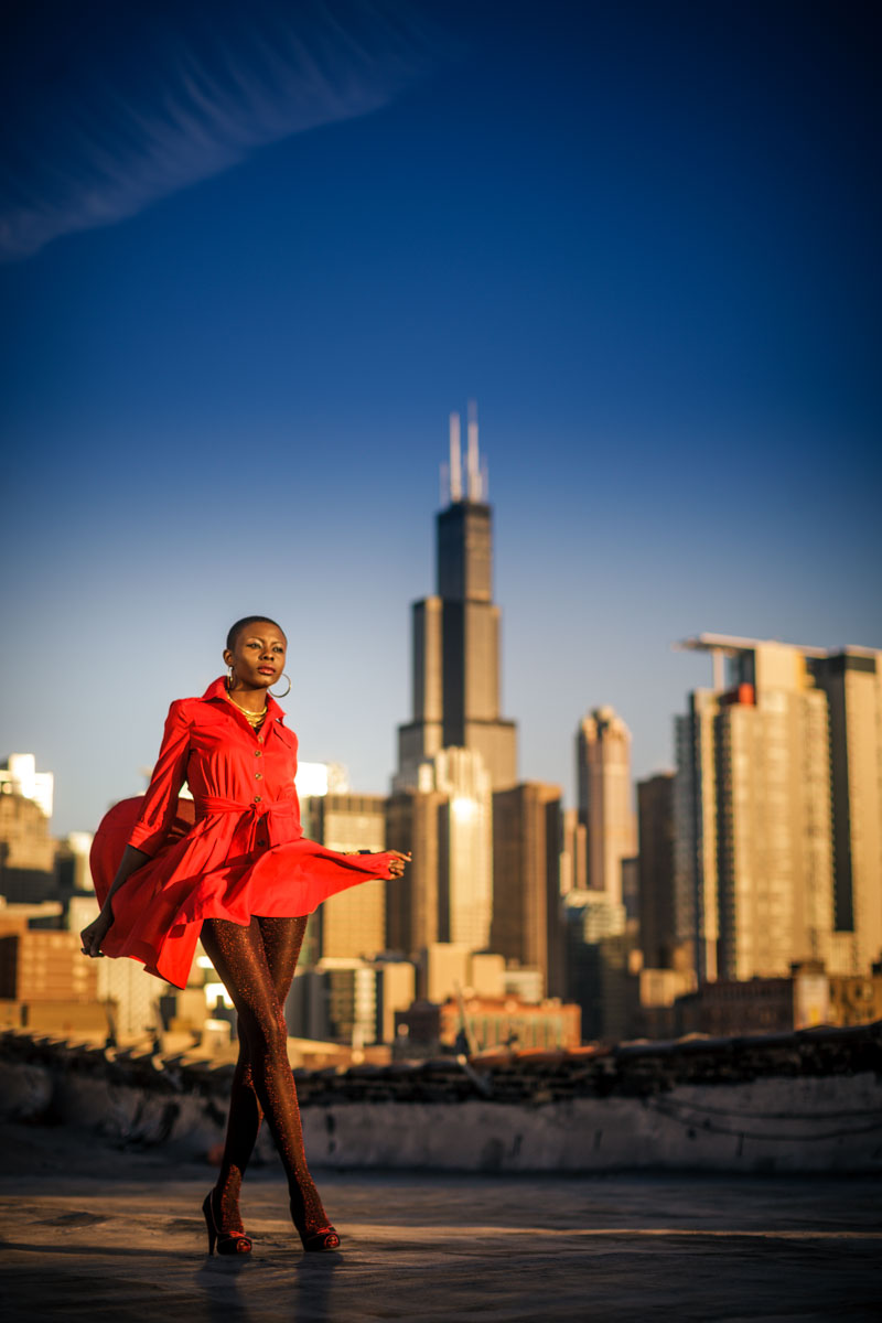 Chicago Fashion Photographer John Gress photo of a stunny model in a red dress