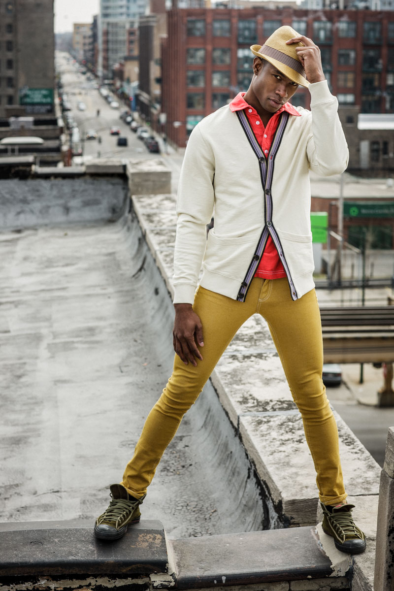 Chicago Fashion Photographer John Gress captures and actor on a Chicago rooftop