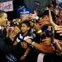 Illinois US Senate candidate Democrat Barack Obama celebrates with his family in Chicago by John Gress