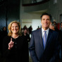 U.S. Republican presidential candidate former Massachusetts Governor Mitt Romney (R) and his wife Ann wait back stage before campaigning at Grand Blanc High School Assembly in Grand Blanc, Michigan January 14, 2008 by John Gress