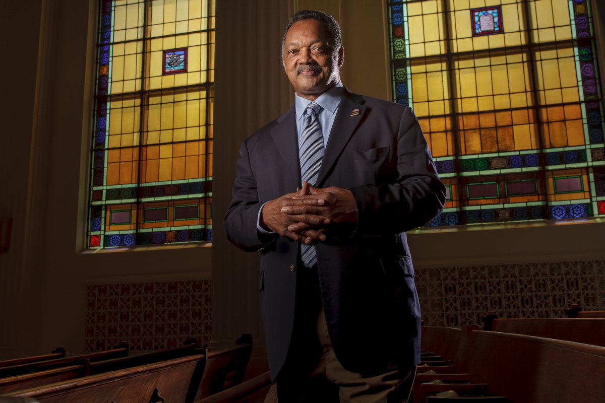 Rev. Jesse Jackson poses in the Rainbow Push headquarters by Chicago environmental portrait photographer John Gress