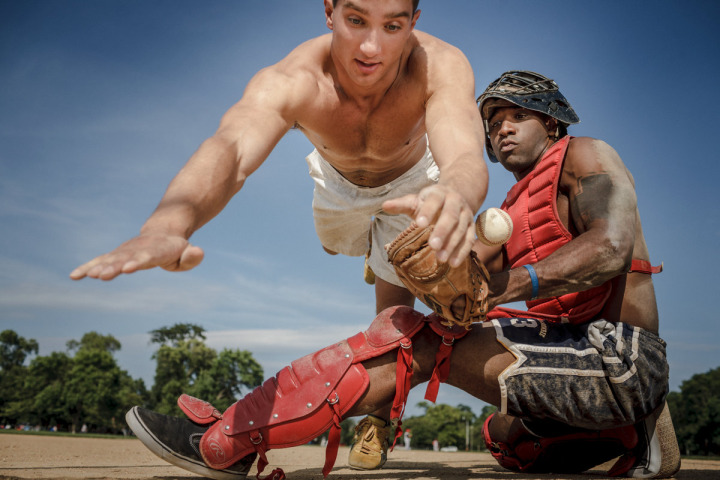 Male lifestyle fitness models pose for baseball photo in Chicago