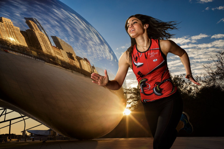 Chicago runner poses for Advertising Photography
