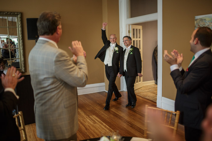 Gay grooms enter wedding in Chicago
