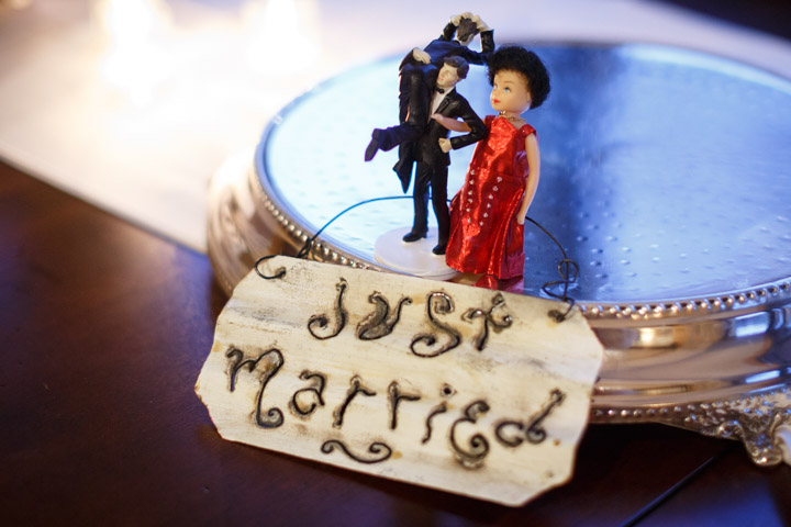 Cake topper at a gay wedding in Chicago