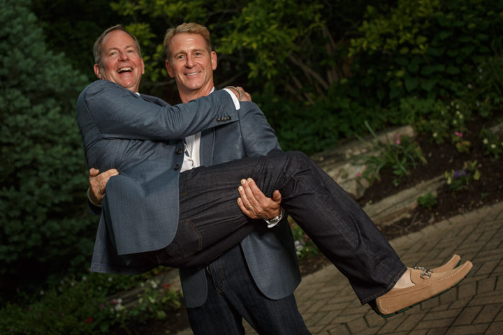 Grooms pose for Chicago Suburban Gay Wedding