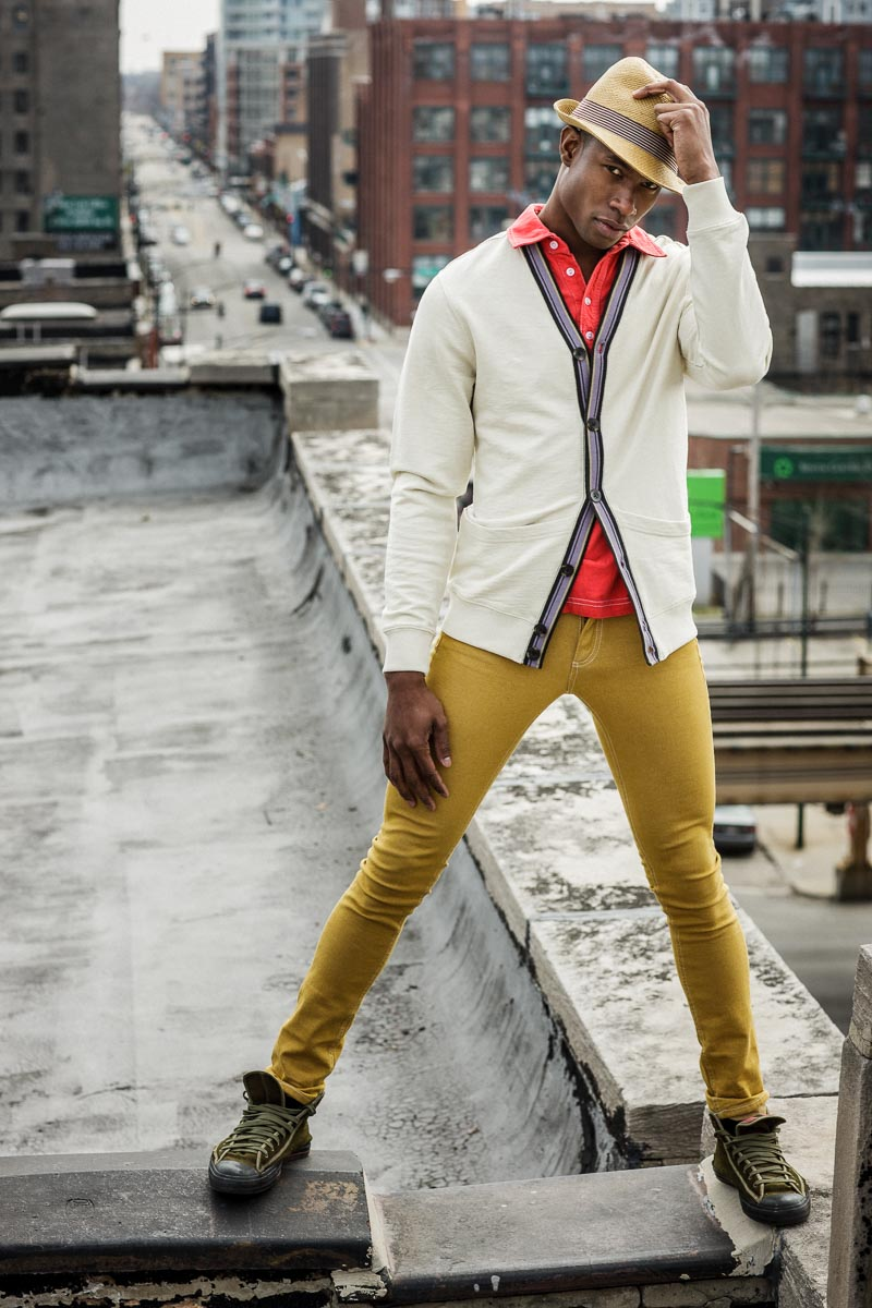 photography of an african american model on a chicago rooftop