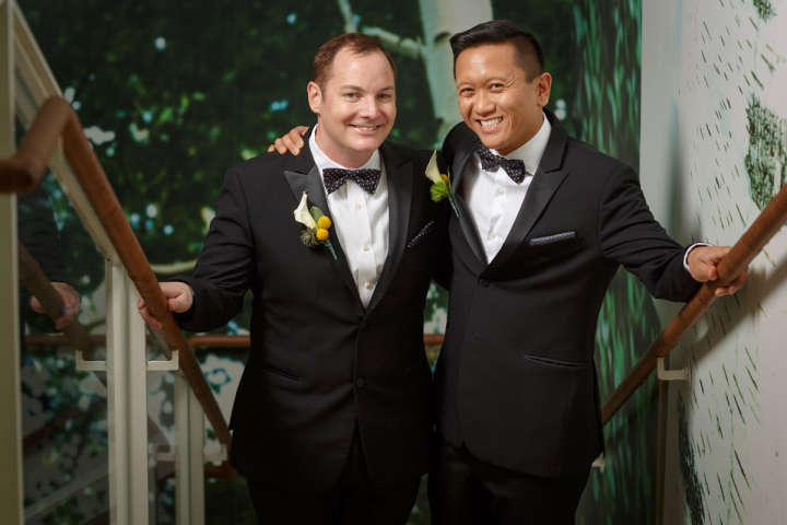 Illinois gay wedding photography of grooms in Chicago