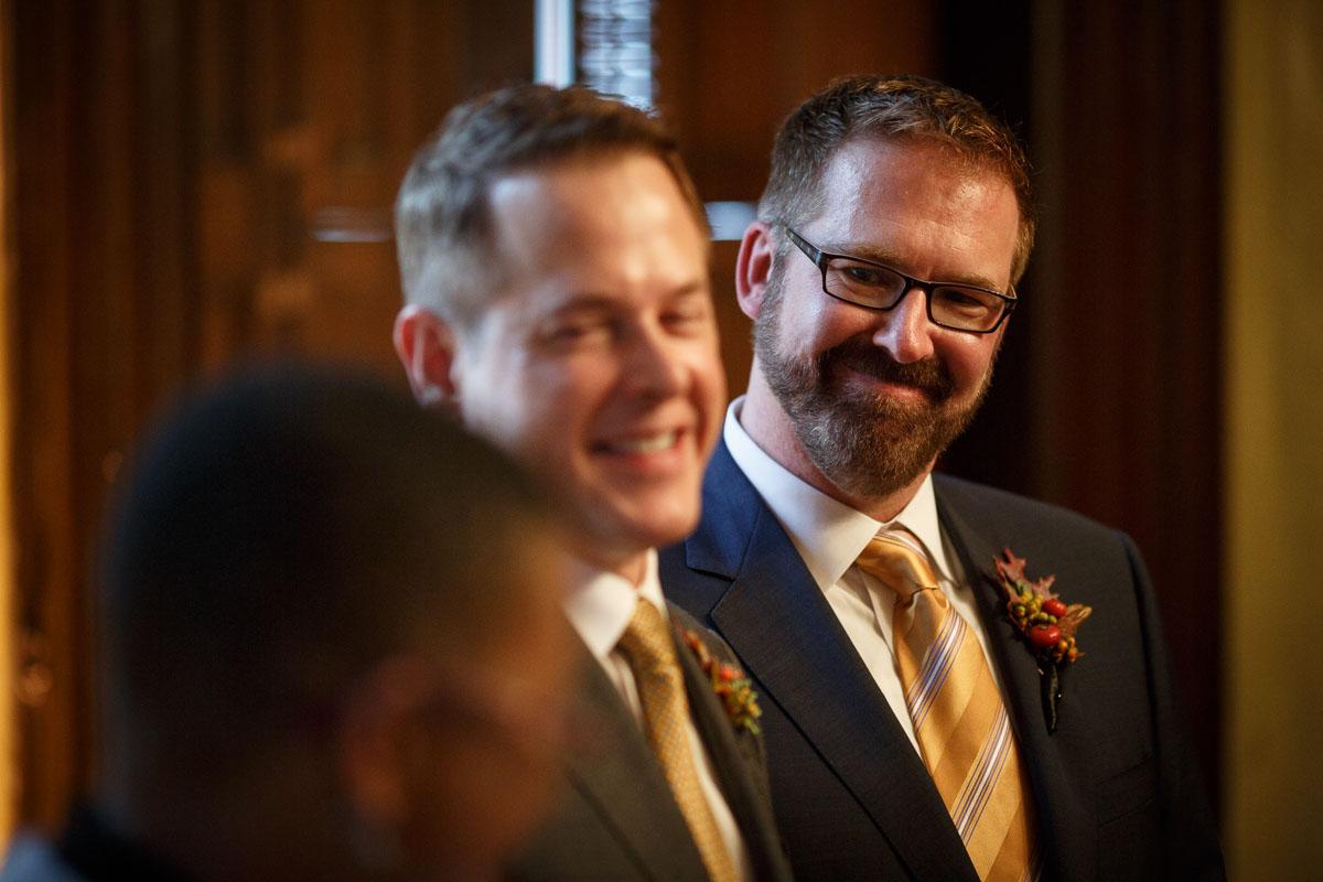 Chicago same-sex wedding photography grroms smile