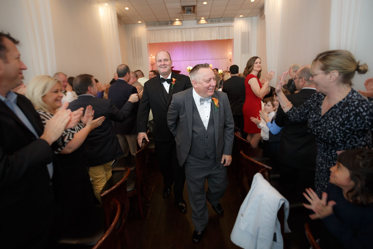 Illinois Gay Wedding Photographer captures Chicago grooms walking down the isle