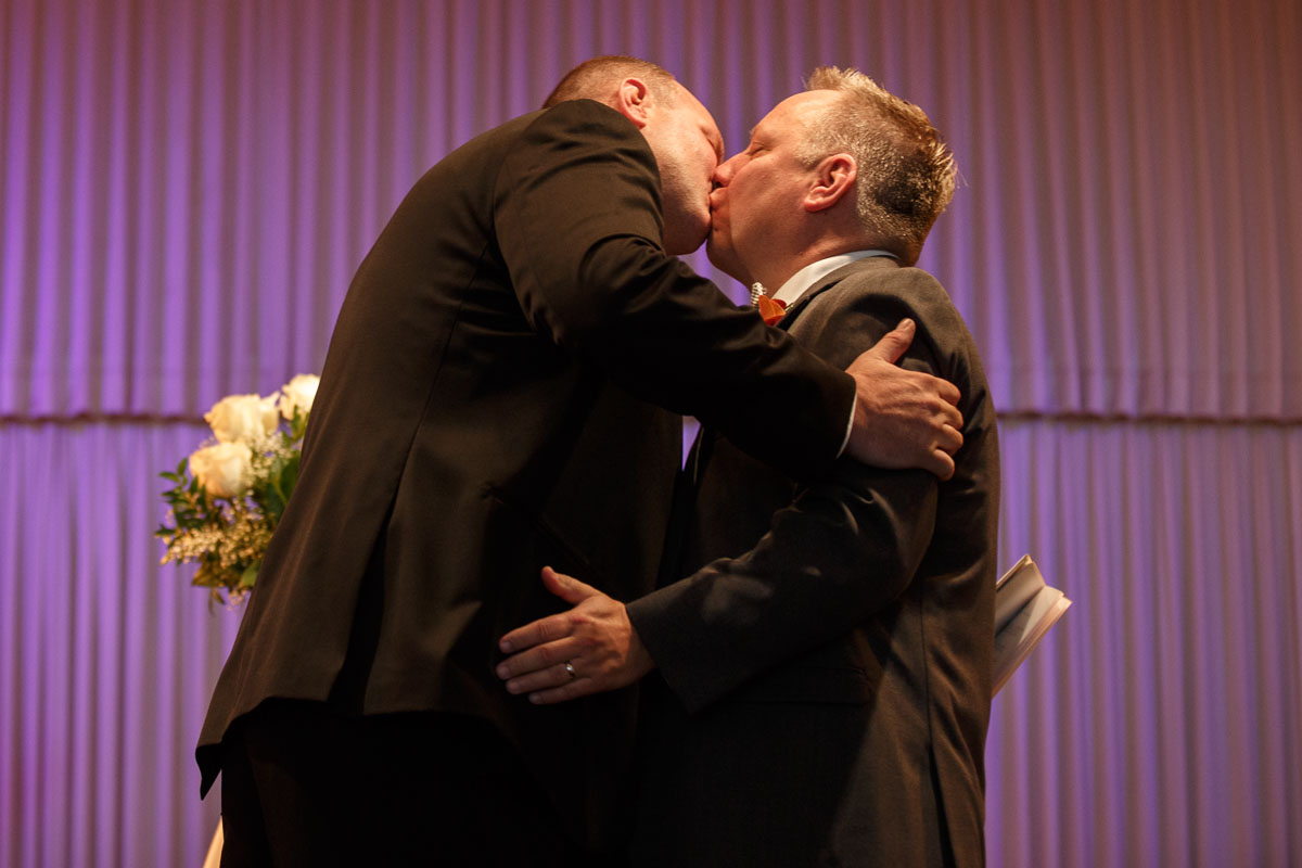First kiss in Chicago by Illinois Gay Wedding Photographer