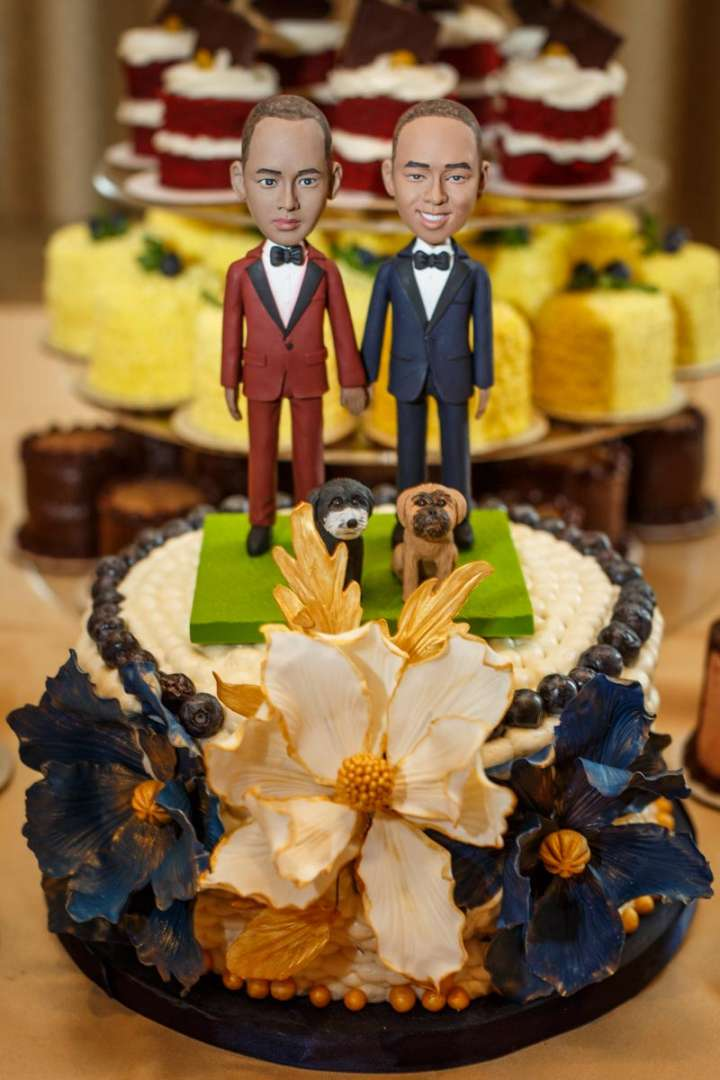 Evanston Gay Wedding photographer african american grooms cut the cake
