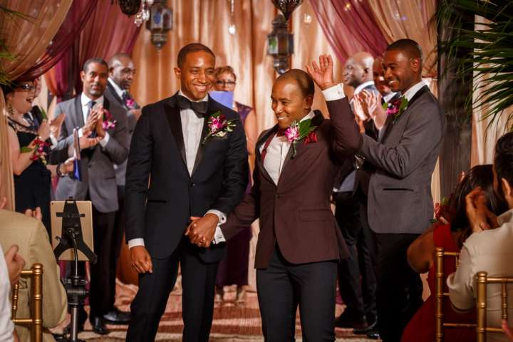 African American gay couple announced at thier wedding in Evanston Illinois