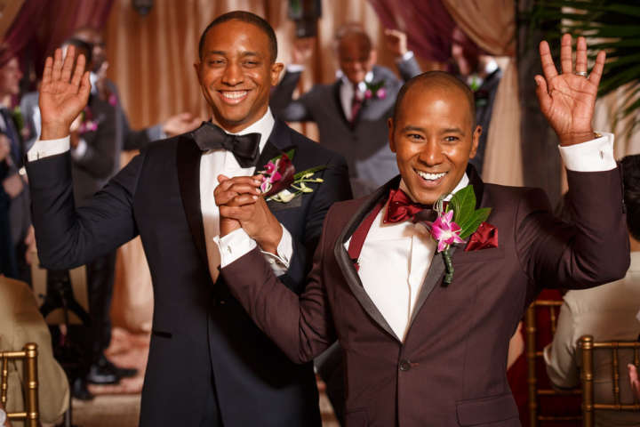 Black gay couple announced at thier wedding in Evanston Illinois