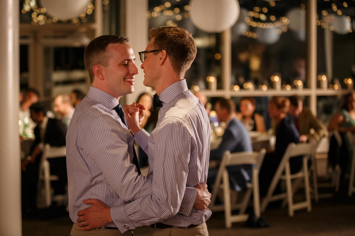 Gay wedding first dance at the Peggy Notebaert Nature Museum in Chicago