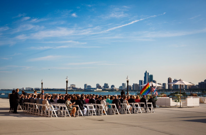 Gay wedding at Navy Pier in Chicago
