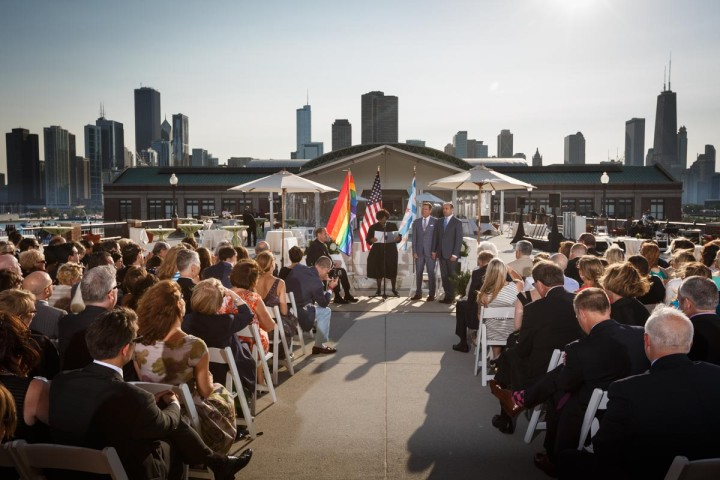 Gay Wedding Ceremony At Navy Pier in Chicago