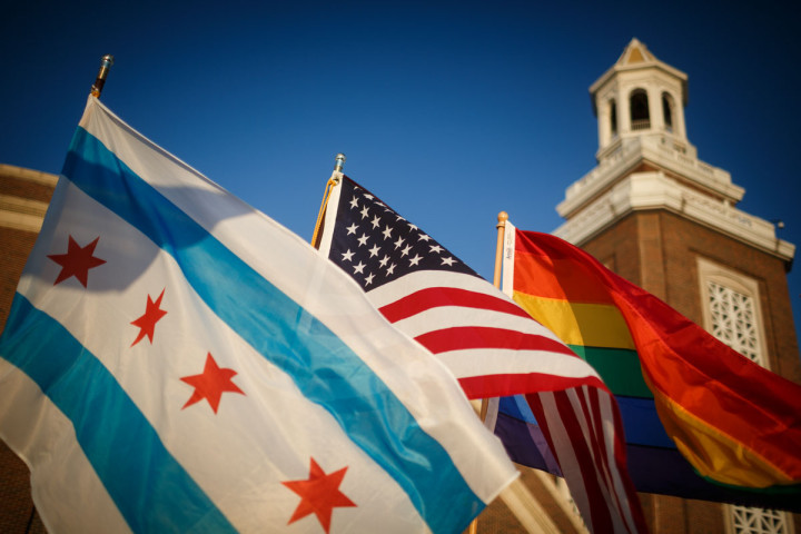 Chicago flag with us flag and rainbow flag
