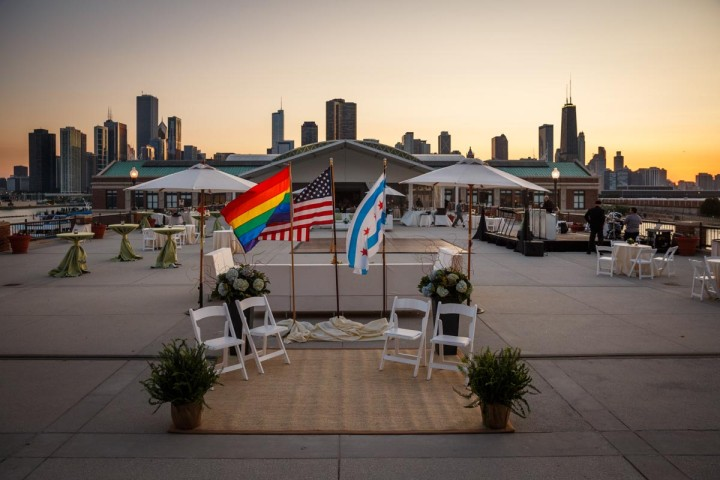 Gay wedding alter in Chicago at Navy Pier