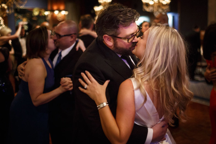 chicago wedding photography of couple kissing on the dance floor