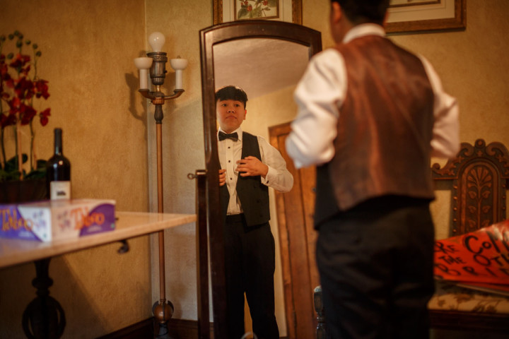 Chicago Suburbs Lesbian Wedding Photographer getting ready