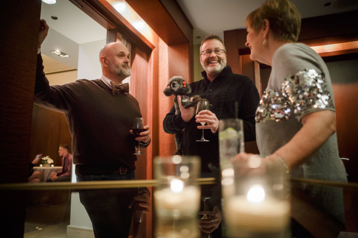 Chicago gay wedding photographer captures new years eve reception at the Park Hyatt with their dog
