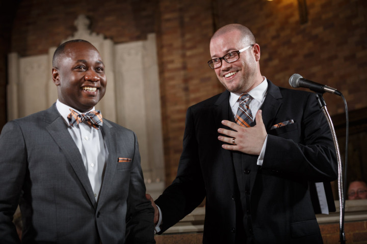 Groom reacts to calling his husband his husband for the first time