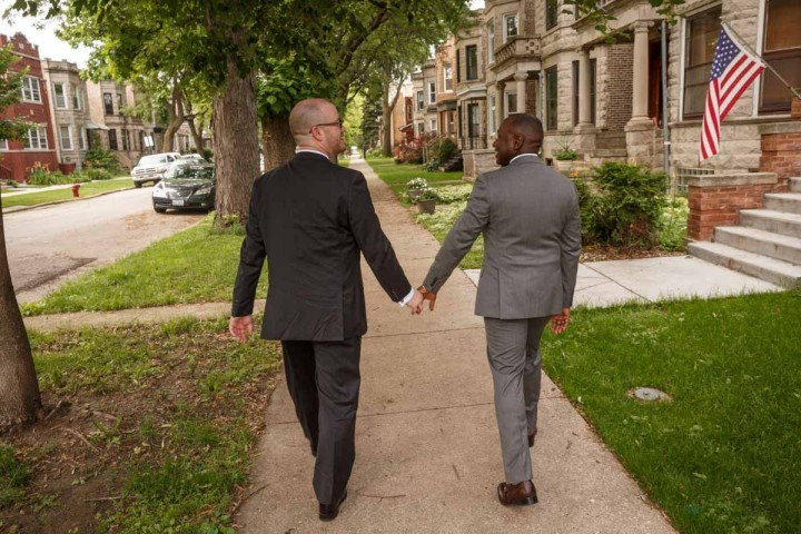 Chicago Gay Wedding Photographer grooms go for a walk engagement phoot