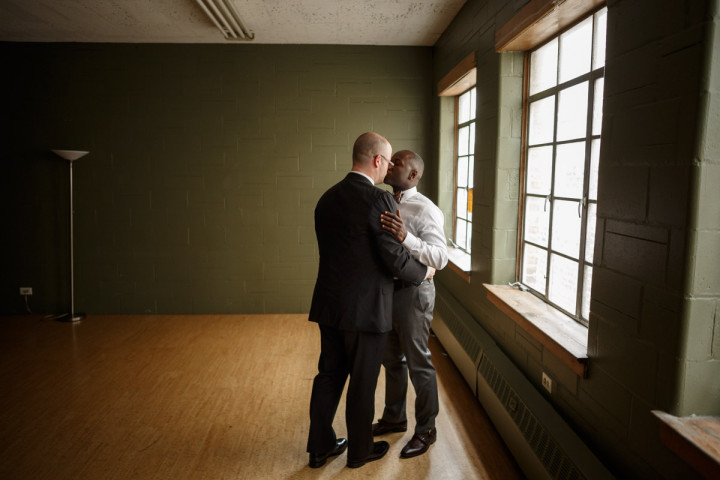 Chicago Gay Wedding Photographer captures grooms kissing before their wedding