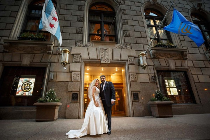 Chicago wedding photographer engagement photography at union league club portrait