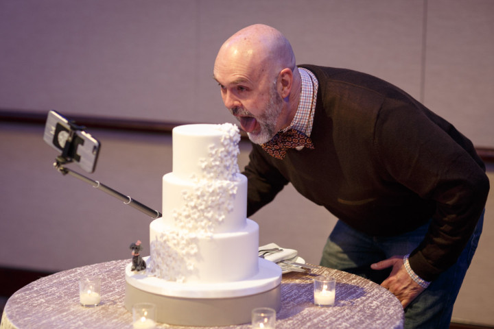 Chicago gay wedding photographer captures new years eve reception at the Park Hyatt cake