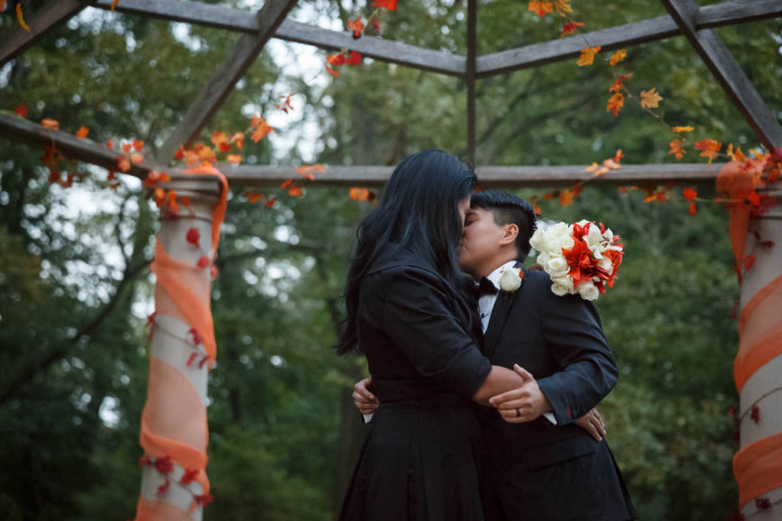 lesbian wedding at the Redfield Estate at the grove in Glenview Illinois