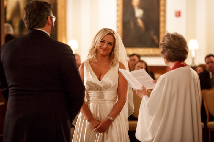 Chicago wedding photographer at union league club captures bride during the ceremony