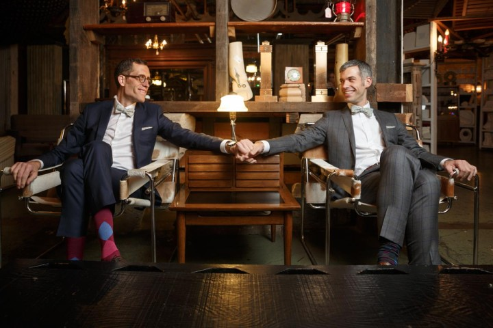 Chicago Gay Wedding Photography portrait at Salvage One