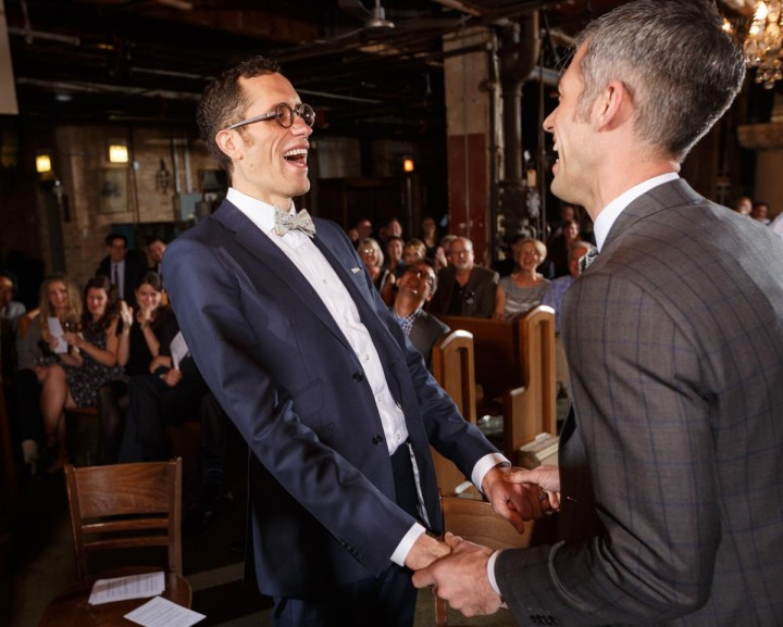 Grooms rejoice at salvage one by Chicago Gay Wedding Photography