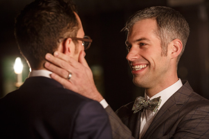 Chicago Gay Wedding Photography of ceremony at Salvage One photographer