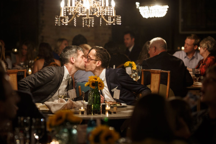 Chicago Gay Wedding Photography of reception at Salvage One