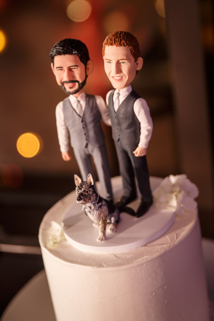 Gay wedding cake topper by Chicago gay wedding photojournalist
