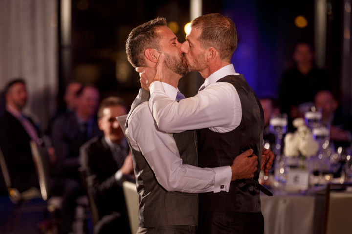 First kiss gay wedding at the Thompson hotel in Chicago