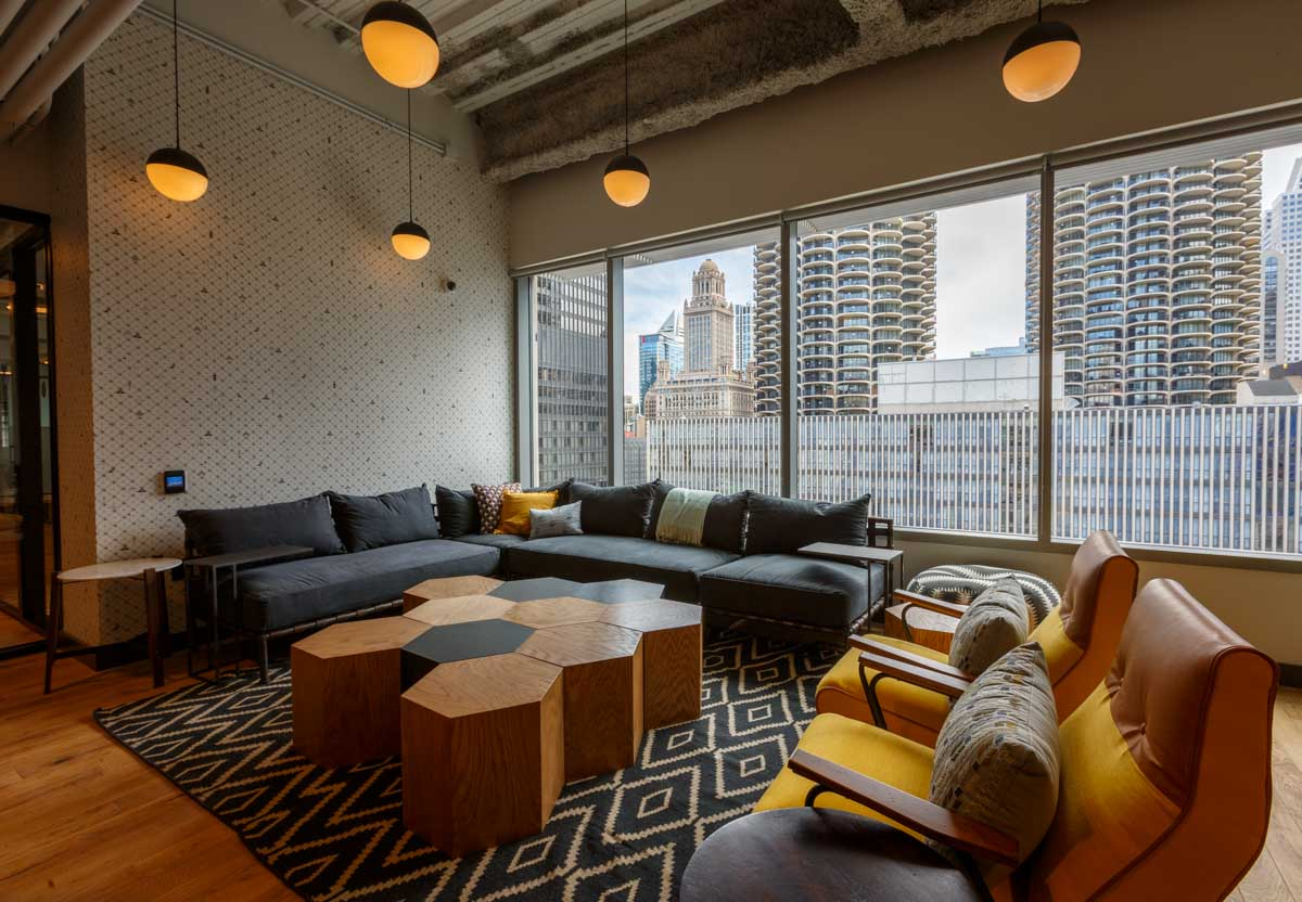 A PR firm, hired me to shoot a series of HDR architectural Interior commercial photography images for office sharing company WeWork in Chicago's River Nortn neighborhood
