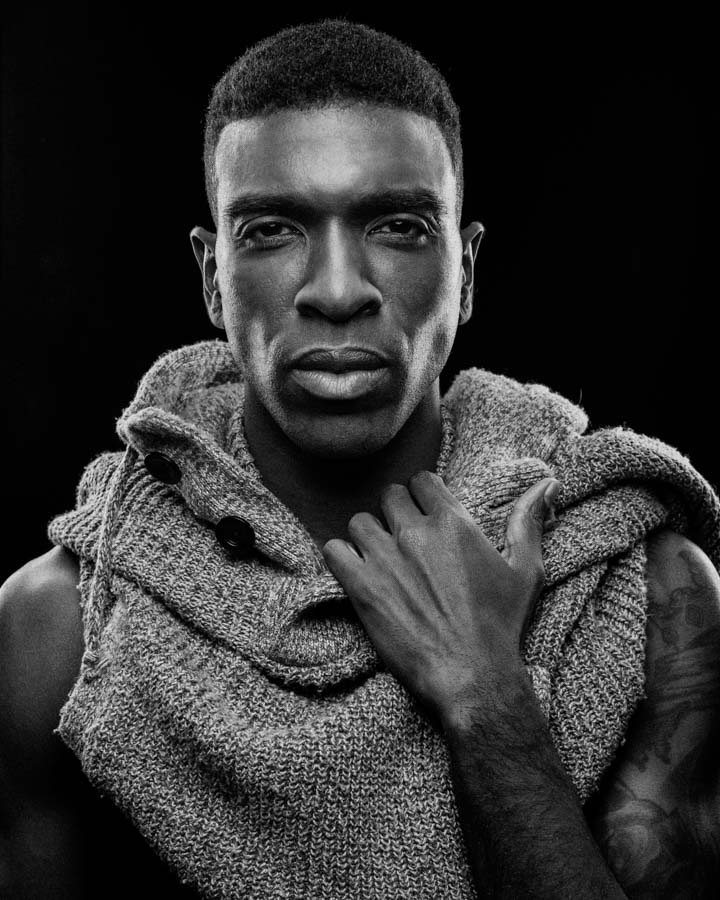 B&W Chicago model headshot Kenneth Hill Modelogic