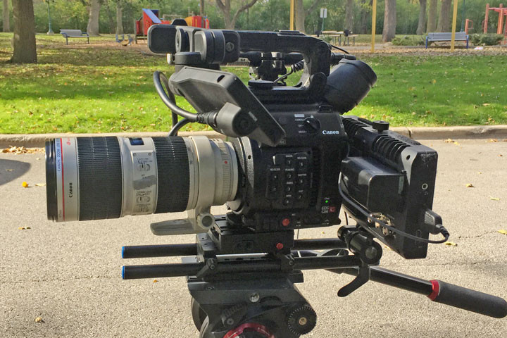 Shooting test footage to compare the Canon C200 and C100 with the Atomos Shogun