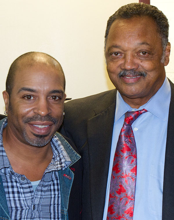 Singer Marshall Titus poses with Civil Rights Legend Jesse Jackson