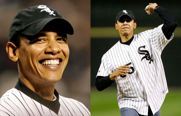 U.S. Sen. Barak Obama (D-IL) is dressed in a White Sox uniform as he smiles while standing on the field prior to his throwing the ceremonial first pitch before the Chicago White Sox met the Los Angeles Angels in Game 2 of the American League Championship Series in Chicago October 12, 2005. REUTERS/John Gress
