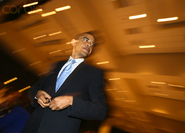 US. Senator Barack Obama (D-IL) waits to speak during the Annual Reverend Dr. Martin Luther King Jr. Scholarship Breakfast in Chicago January 15, 2007. REUTERS/John Gress (UNITED STATES)