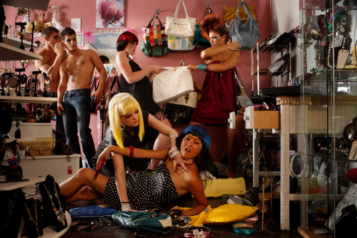Chicago life style photographer shoots Female Lifestyle Models Fight Over Purses As Male Models Look On By John Gress