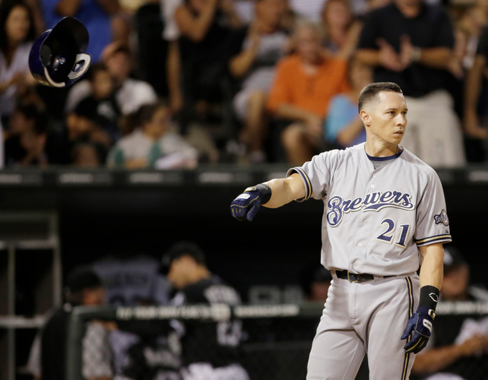 Cody Ransom #21 of the Milwaukee Brewers reacts to striking out swinging while facing the Chicago White Sox during the seventh inning of their MLB game at U.S. Cellular Field on June 23, 2012 in Chicago, Illinois. The Tigers won the game 5-3. (Photo by John Gress/Getty Images)
